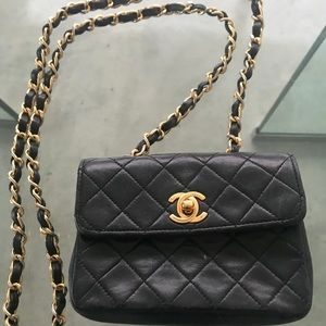 80's VINTAGE CHANEL Quilted Micro Mini Flap Bag